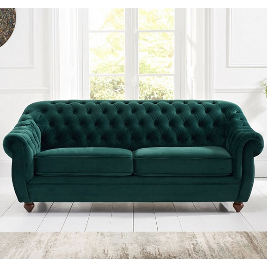 Sylvan Chesterfield Fabric 3 Seater Sofa In Green Plush_2