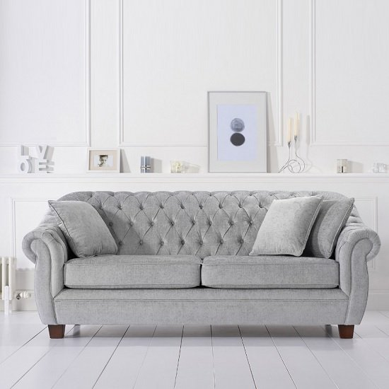 Sylvan Chesterfield Style Fabric 3 Seater Sofa In Grey Plush