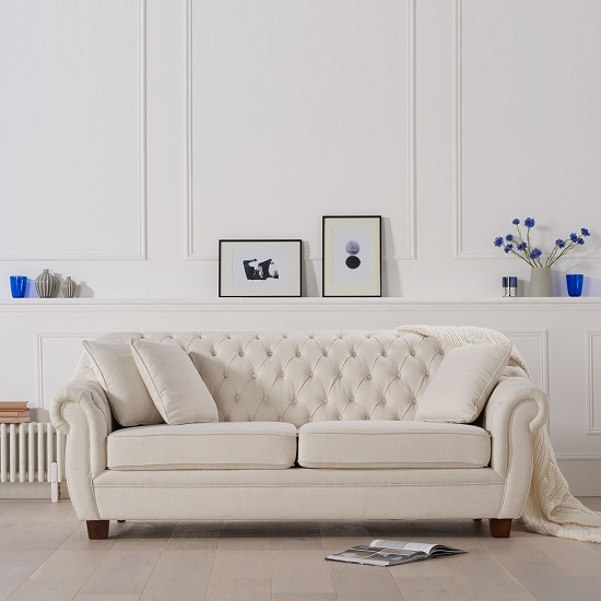Sylvan Chesterfield Style Fabric 3 Seater Sofa In Ivory