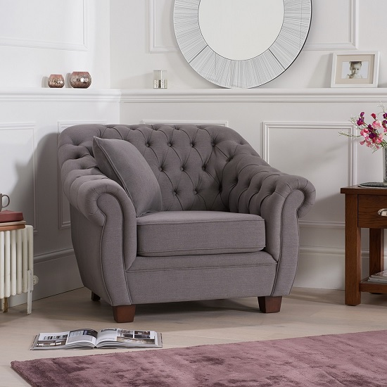 Sylvan Chesterfield Style Fabric Sofa Chair In Grey Linen
