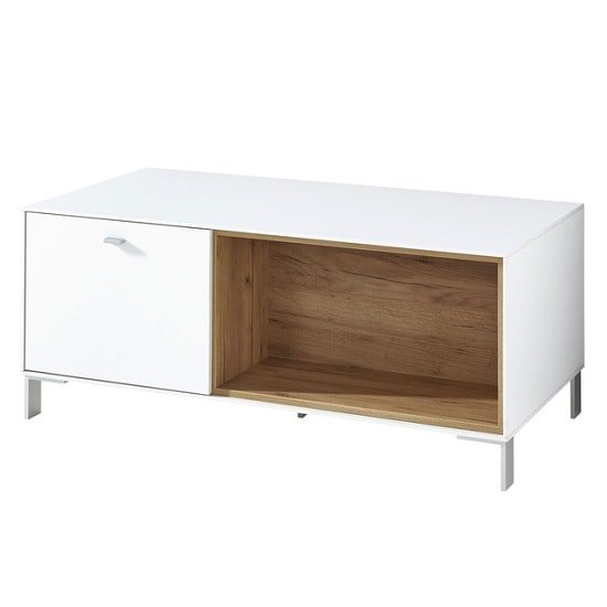 Symfonia Wooden Coffee Table In White And Navarra Oak