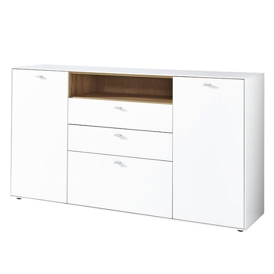 Symfonia Wooden Sideboard In White And Navarra Oak
