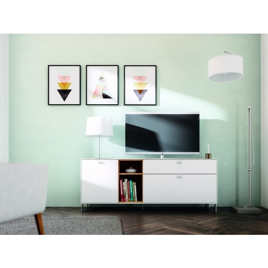 Symfonia Wooden TV Sideboard In White And Navarra Oak