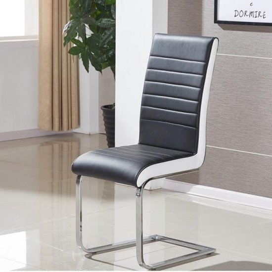 Symphony Dining Chair In Black And White PU With Chrome Base_1