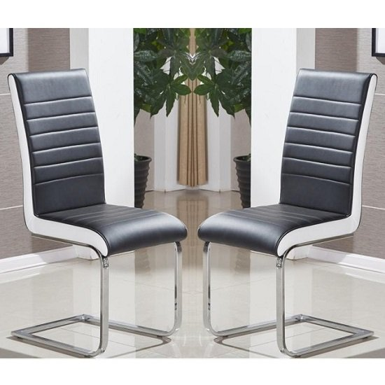 Symphony Dining Chair In Black And White PU In A Pair_1