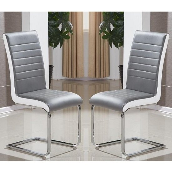 Symphony Dining Chair In Grey And White PU In A Pair_1