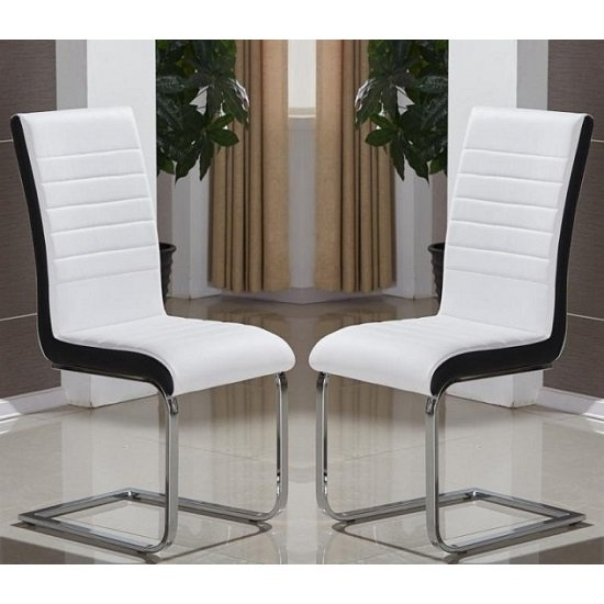 Symphony Dining Chair In White And Black PU In A Pair_1