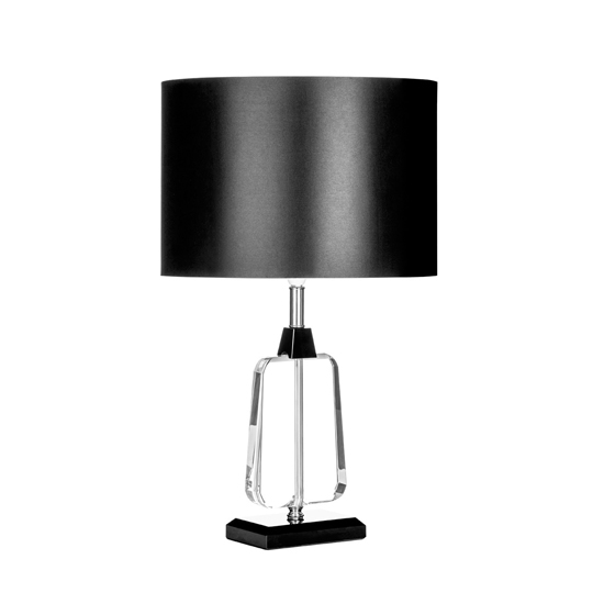 Tabhao Black Fabric Shade Small Table Lamp With Chrome Base_1