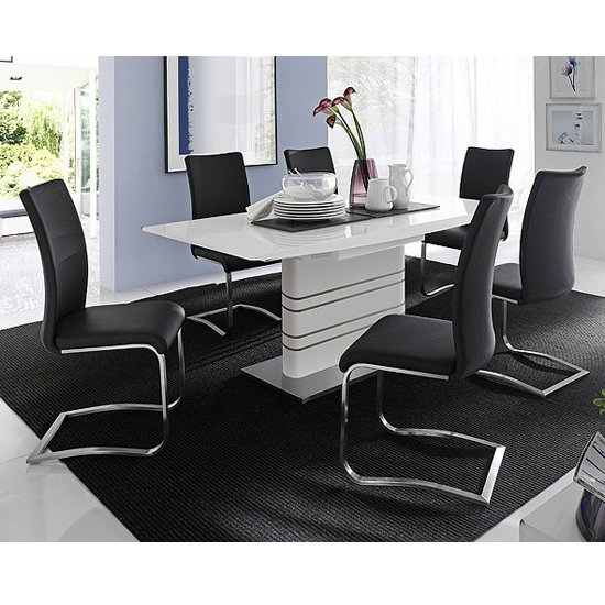 Modus White Gloss Extendable Dining Set And 6 Arco Black Chairs - Buy ...