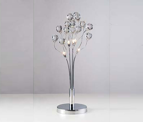 5 Light Table Lamp Stainless Steel and Crystal