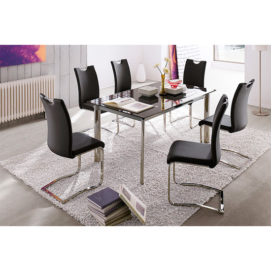 Plato 6 Seater Black Dining Table Set With Koln Dining Chairs