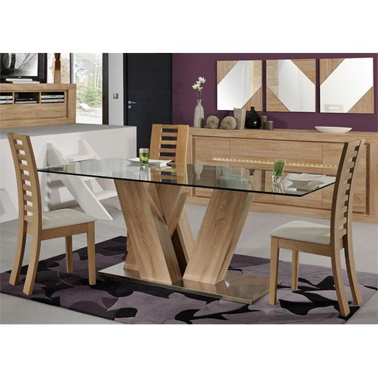 Season glass top 6 seater dining table with season chairs 20 for Dining room table 4 seater