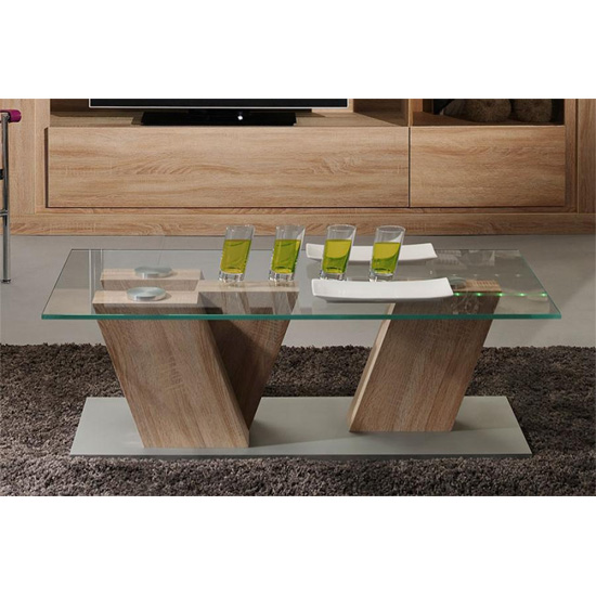 Season Coffee Table With Clear Glass Top