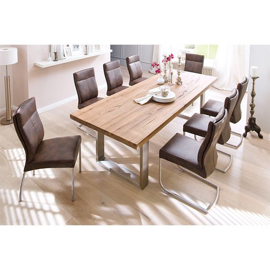 capello solid oak 8 seater dining table with edward chairs