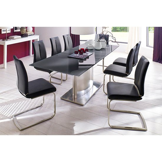 Memory 8 Seater Grey Dining Table Set With Ronja Dining