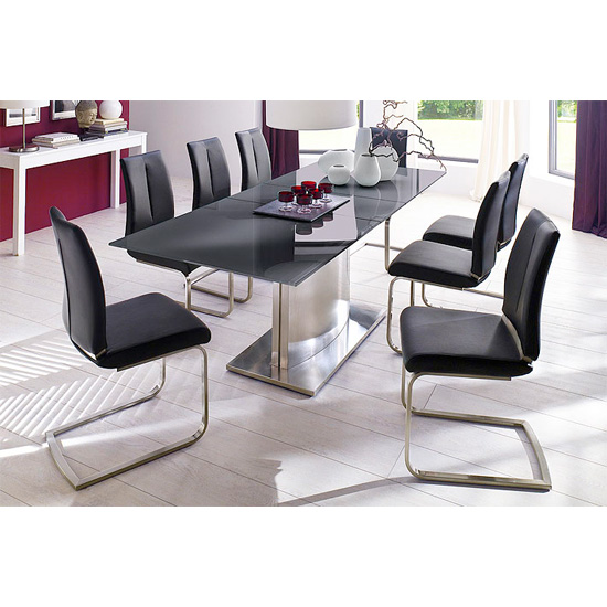 Memory 8 Seater Grey Dining Table Set With Ronja Dining Chairs