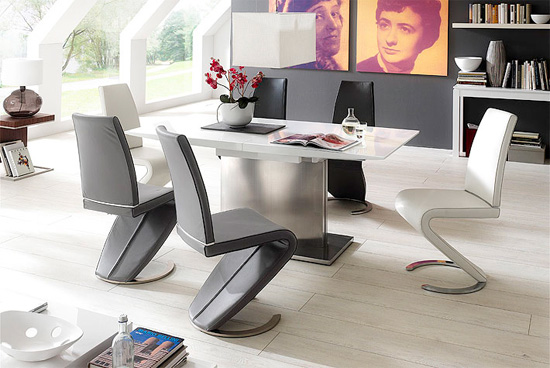 Helio High Gloss 6 Seater Dining Table And Dining Chairs