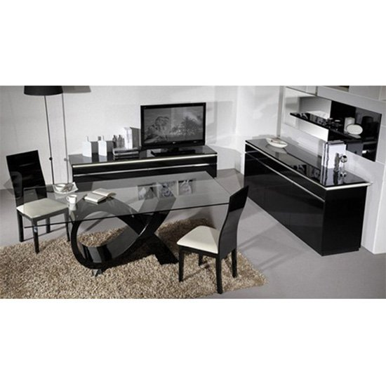 Elisa High Gloss Black 6 Seater Dining Table And Chairs