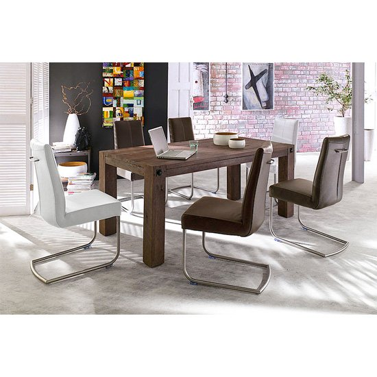 Leeds Solid Wood 6 Seater Dining Table With Flair Chairs