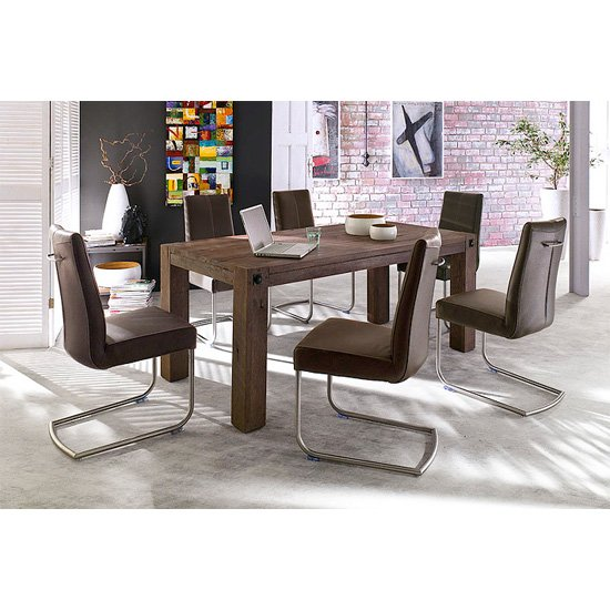 8 Seater Dining Table And Chairs: Leeds Solid Wood 8 Seater Dining Table With Flair Chairs