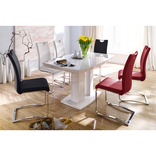 Genisimo High Gloss 4 Seater Dining Table With Koln Chairs