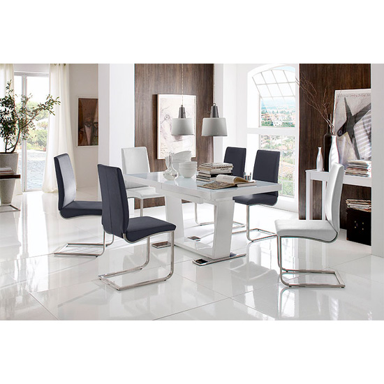Manhattan High Gloss 6 Seater Dining Table With Lotus Chairs