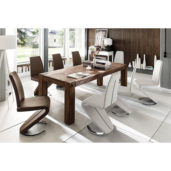 Leeds Solid Wood 8 Seater Dining Table With Swing Chairs
