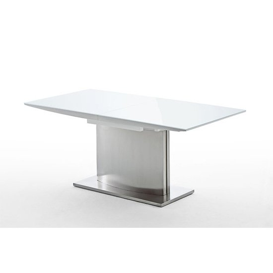 Helio White Dining Table With Glass Top