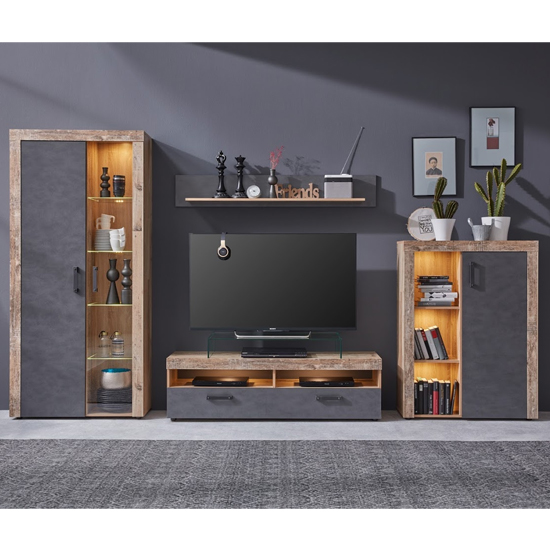 Tailor LED Living Room Furniture Set In Pale Wood And Matera