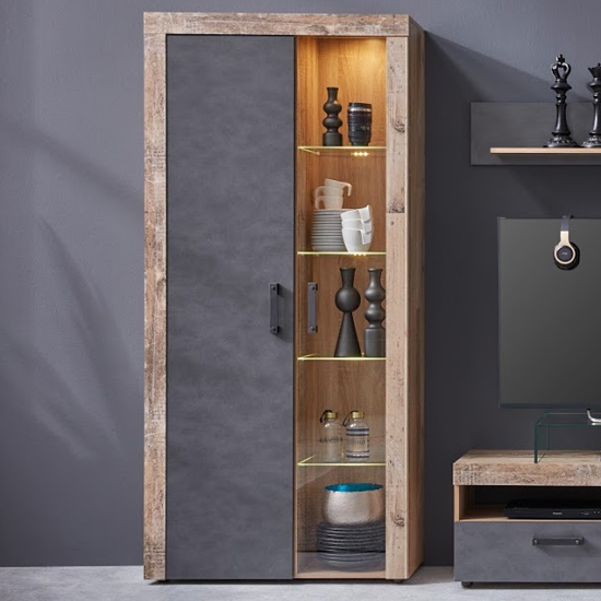 Tailor LED Tall Display Cabinet In Pale Wood And Matera