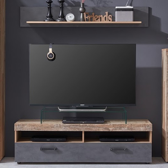 Tailor LED TV Stand With Wall Shelf In Pale Wood And Matera