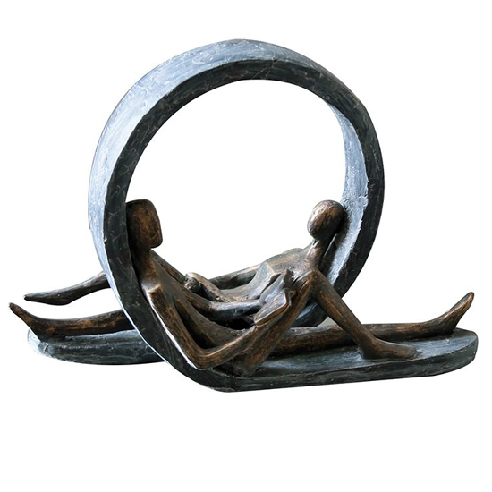 Take Time Out Poly Design Sculpture In Burnished Bronze And Grey