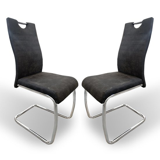 Talia Suede Effect Dark Grey Fabric Dining Chairs In Pair