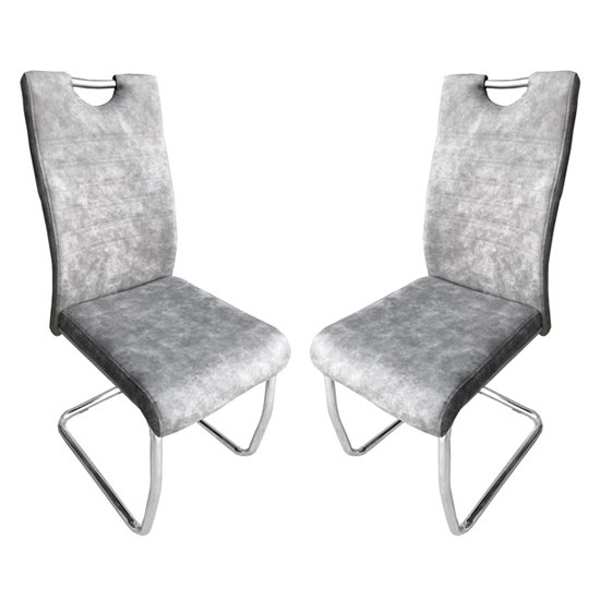 Talia Suede Effect Light Grey Fabric Dining Chairs In Pair