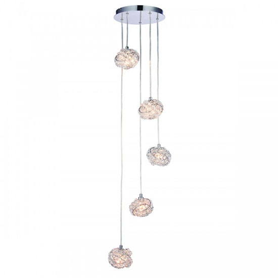 Talia Wall Hung 5 Drop Pendant Light In Clear Capsule