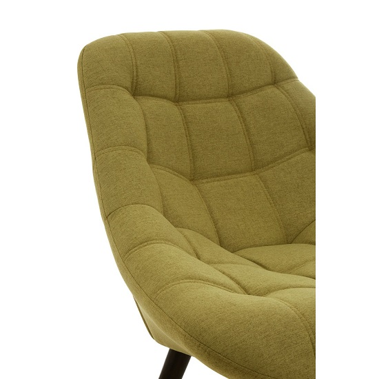 Hyadum Faux Linen Upholstered Bedroom Chair In Green    _5