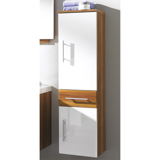 Impuls Walnut White Tall Bathroom Cabinet