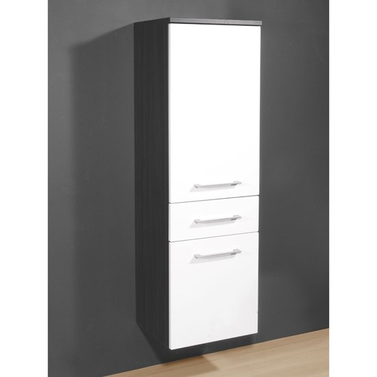 Juliana Tall Bathroom Cabinet in Carbon Ash Gloss White