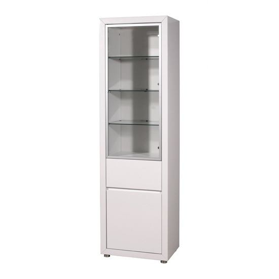 Fino High Gloss Tall Display Cabinet White