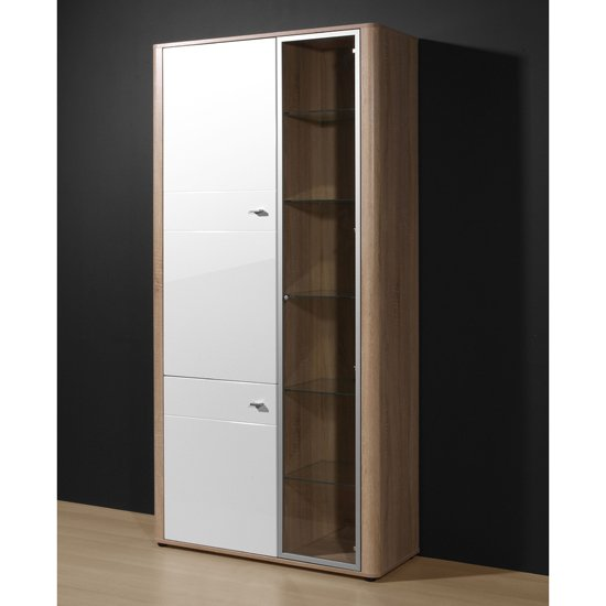 Monza Tall Display Cabinet In Gloss White Oak