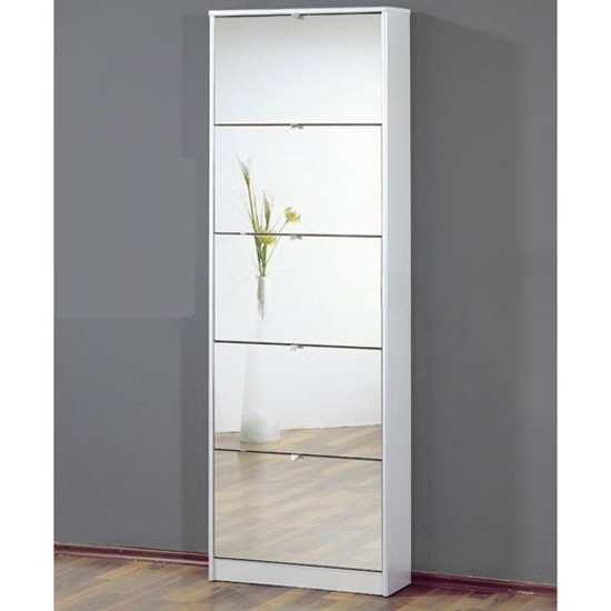Tall Mirrored Shoe Storage Cabinet In White With Five Drawers_2