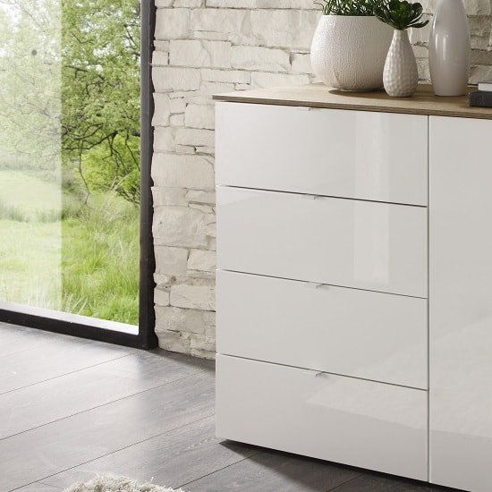 Jaxon Drawers Chest In Glossy White Lacquer And Honey Oak Top_1