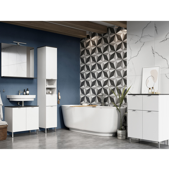 Tampa Tall Bathroom Storage Cabinet In White And Graphite_2