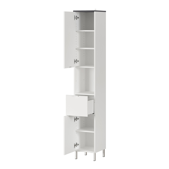 Tampa Tall Bathroom Storage Cabinet In White And Graphite
