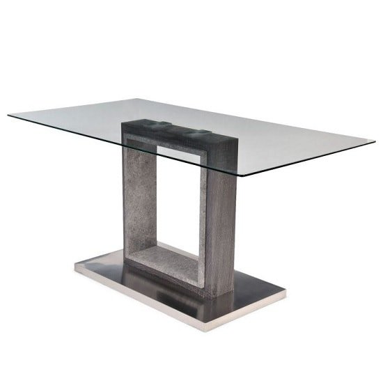 Tamzin Modern Glass Dining Table Rectangular In Clear