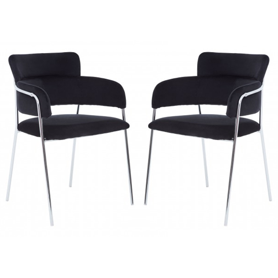 Product photograph showing Tamzo Black Velvet Dining Chairs With Chrome Legs In Pair