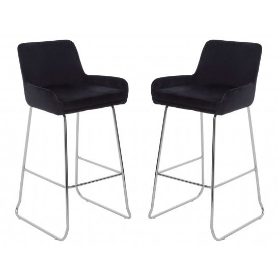 Tamzo Black Velvet Upholstered Bar Chair With Low Arms In Pair