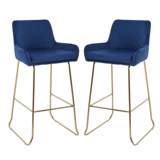 Tamzo Blue Velvet Upholstered Bar Chair With Low Arms In Pair