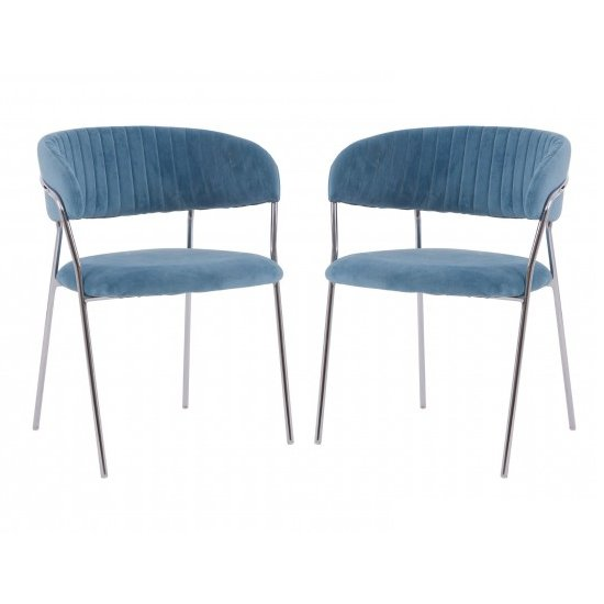 Tamzo Blue Velvet Upholstered Dining Chairs In Pair