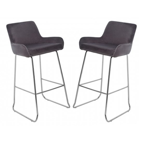Tamzo Mink Velvet Upholstered Bar Chair With Low Arms In Pair